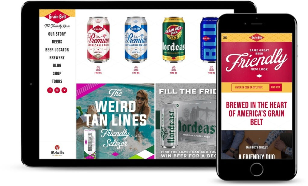 Grain Belt site showcased on a tablet and iphone