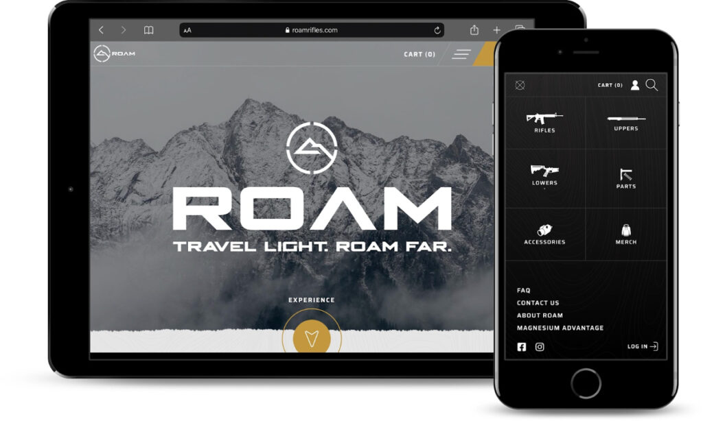 Roam site showcased on a tablet and iphone