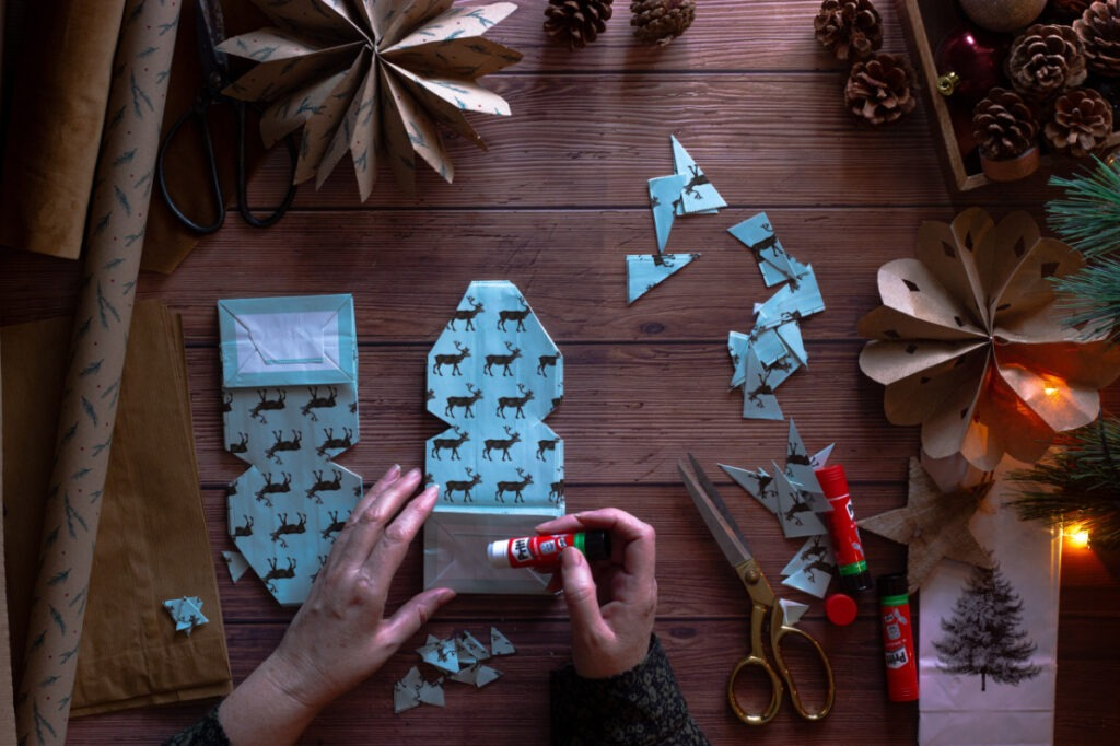 crafting decorative snowflakes for coivd-19 christmas
