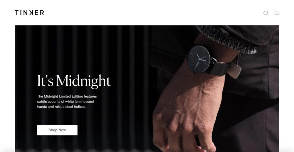 contrast spacing example of Tinker website
